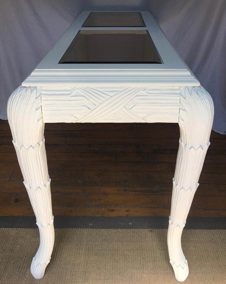Hollywood Regency Serge Roche Style Plaster White Palm Carved Console Table For Sale