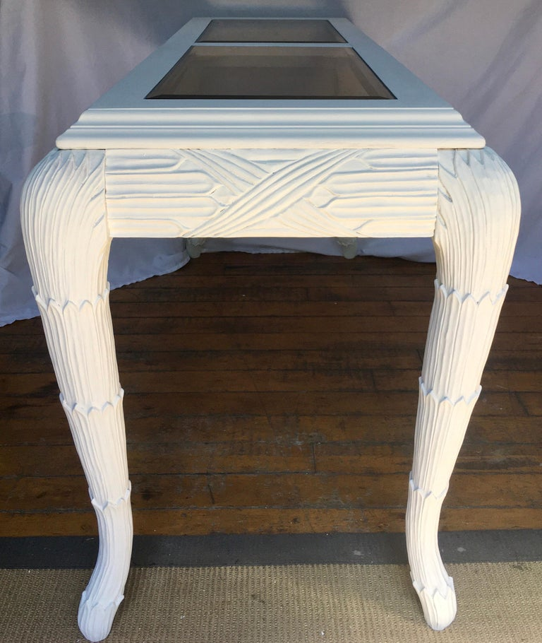 Serge Roche Style Plaster White Palm Carved Console Table In Good Condition For Sale In Lambertville, NJ