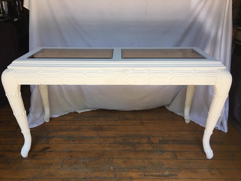 20th Century Serge Roche Style Plaster White Palm Carved Console Table For Sale