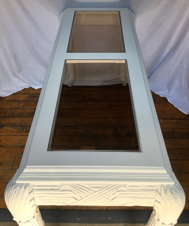 Glass Serge Roche Style Plaster White Palm Carved Console Table For Sale