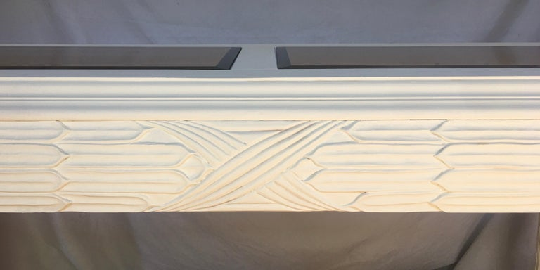 Serge Roche Style Plaster White Palm Carved Console Table For Sale 2