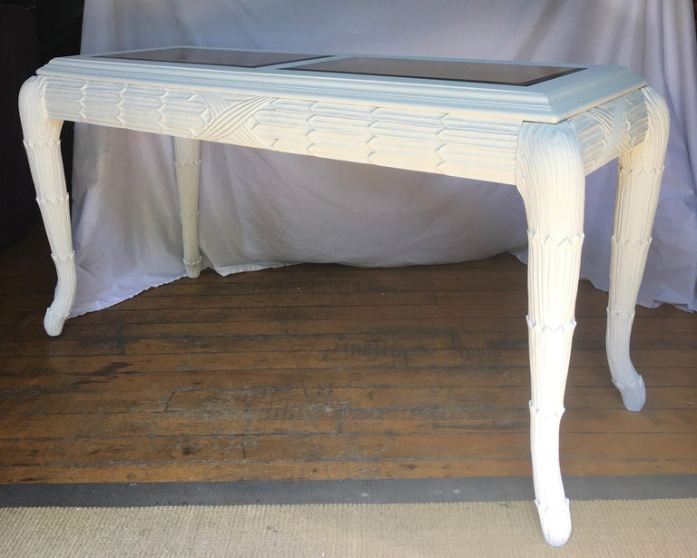 Serge Roche Style Plaster White Palm Carved Console Table For Sale 3