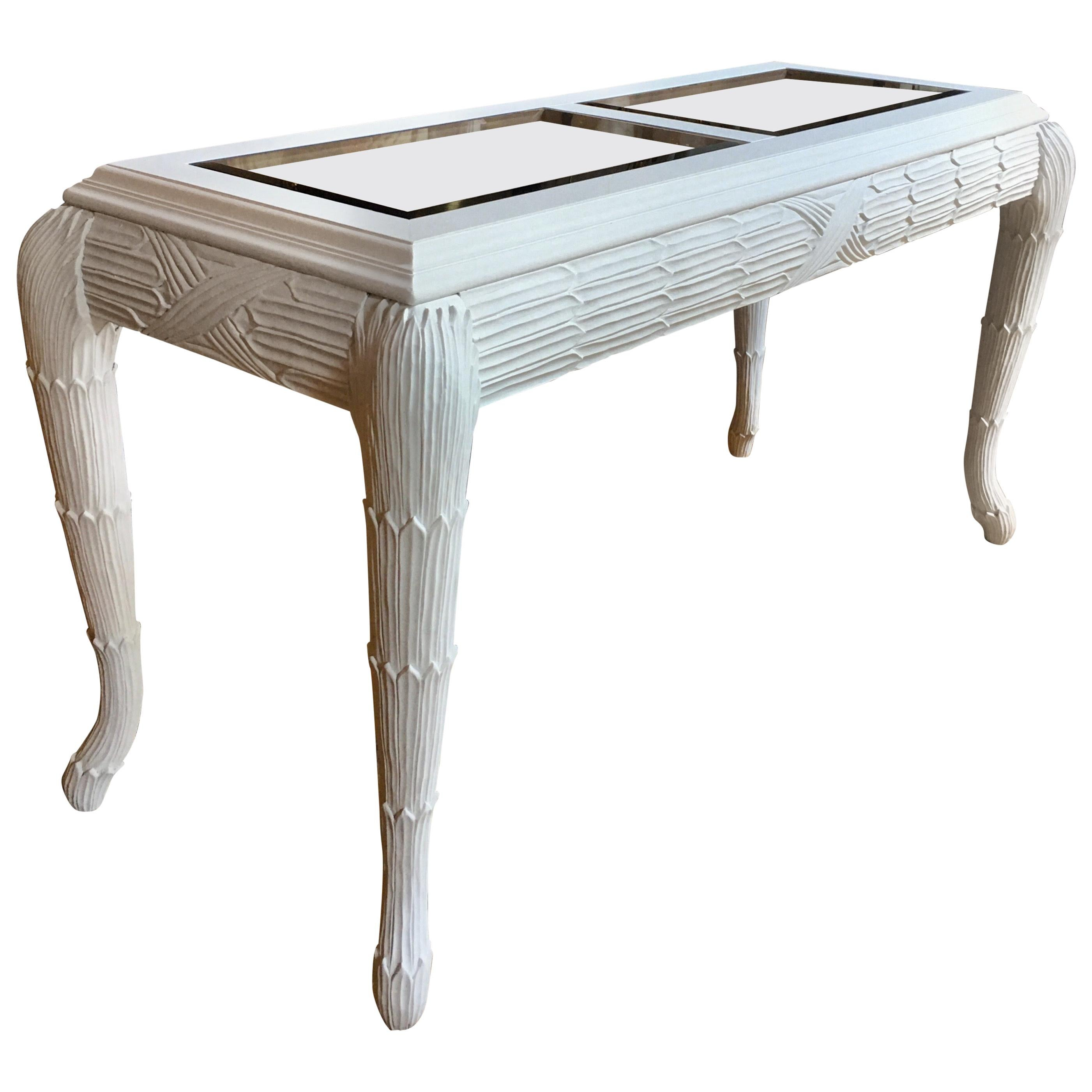 Serge Roche Style Plaster White Palm Carved Console Table