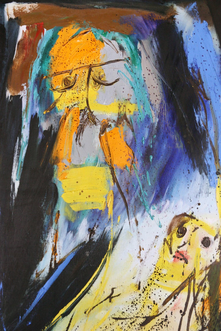 'Arrival of Time' by: Serge Vandercam - Black Abstract Painting by Serge Vandercam