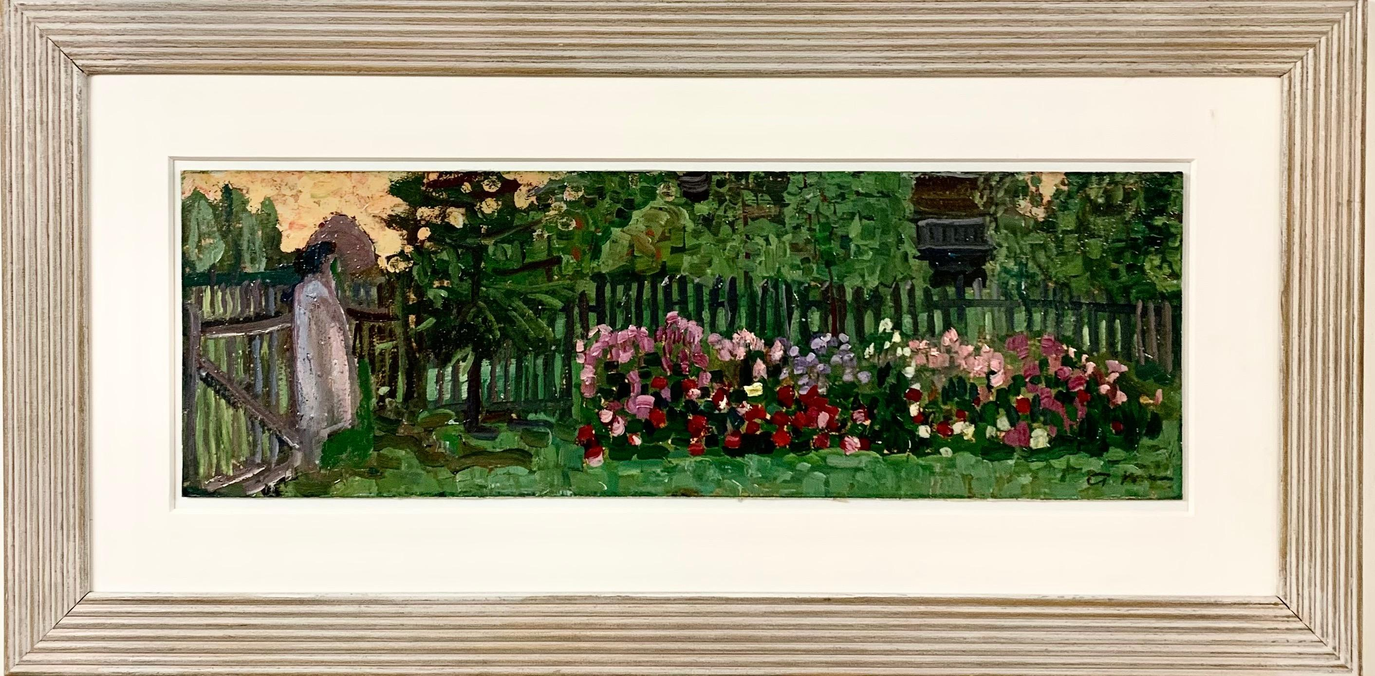 """Flowers in my garden"" Garden, flowers, sunset, Oilcm. 51 x 17"