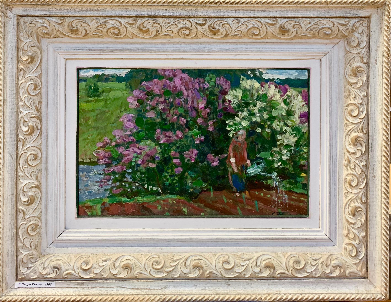"""Spring""Garden, flowers, spring, gardener, lilac Oil cm. 37 x 24 1985"