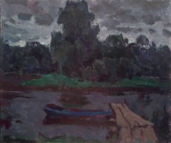 Boat on the evening river, Painting, Oil on Other