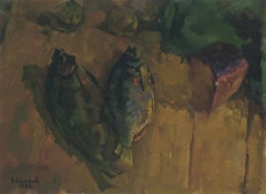 Fish and bread, Painting, Oil on Canvas