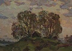 Trees on a hillock, Painting, Oil on Other
