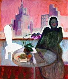 Breakfast . Painting Decorative Abstract Nude Colorful Modern Interior Lady Home
