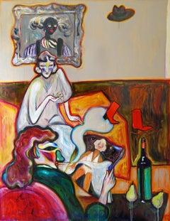 Cafe of Dancing Lights . Acrylic on Canvas Color Red Orange Modern 2020 Bondarev