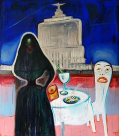 Dinner . Painting Decorative Abstract Nude Colorful Modern Interior Lady Home