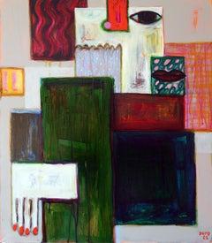 Experiment 1 . Portrait Painting Decorative Abstract Cubism Lips Hands