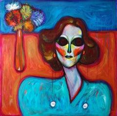 Fake World 2 . Acrylic on Canvas Pink Color Portrait Contemporary Bondarev 2021