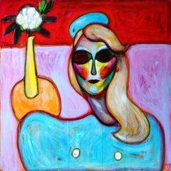 Fake World 3 . Acrylic on Canvas Pink Color Portrait Contemporary Bondarev 2021