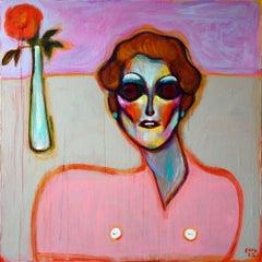 Fake World . Acrylic on Canvas Pink Color Portrait Contemporary Bondarev 2021