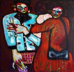 Guests. Acrylic on Canvas Color Red Orange Modern Contemporary 2020 Bondarev