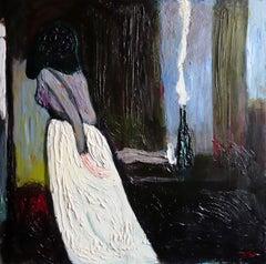 I'm so sudden . Portrait Painting Acrylic Dark Lady Grey Modern Interior Luxury