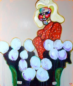Ivana flower saleswoman 1 .Portrait Painting Acrylic Colors Red Pink Purple Grey