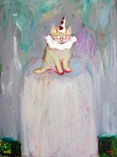 Kitten Pierrot . Portrait Acrylic Cat Impressionism Theater Interior Fun Cute