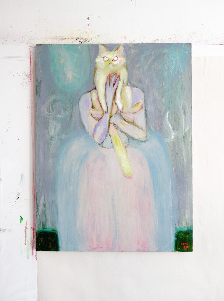 Lady with Cat . Portrait Acrylic Impressionism Pearl Theater Interior Fun Cute - Painting by Sergey Bondarev