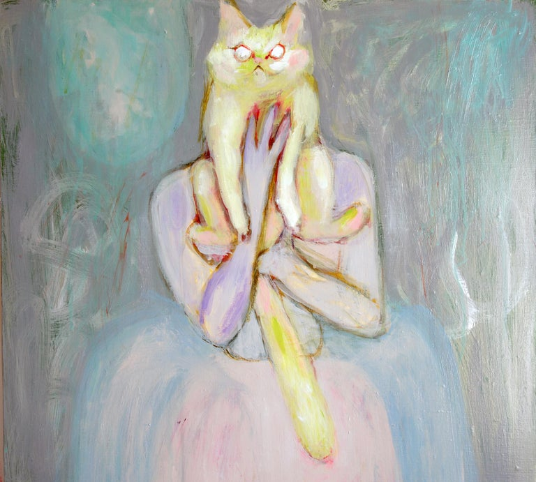 Lady with Cat . Portrait Acrylic Impressionism Pearl Theater Interior Fun Cute - Contemporary Painting by Sergey Bondarev