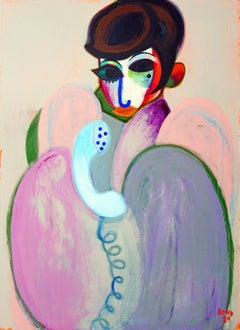 Lisa Minnelli 1 . Portrait Painting Interior Lady Colorful Face Star Modern