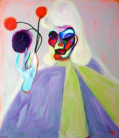 Magic . Portrait Painting Acrylic Colors Pink Purple Green Grey
