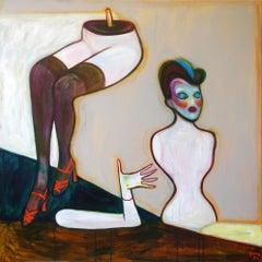 Mannequins 1 . Acrylic on Canvas Green Color Portrait Contemporary Bondarev 2021