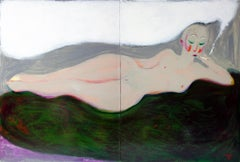 Nude on a green blanket . Diptych Portrait Painting Acrylic Woman Grey Red Lips