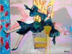 Out . Acrylic on Canvas Green Color Modern Portrait Contemporary Bondarev 2015