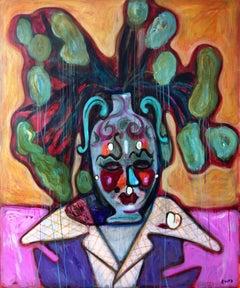 Still Life with a drunk Vase . Portrait Painting Acrylic Face Flowers Bouquet