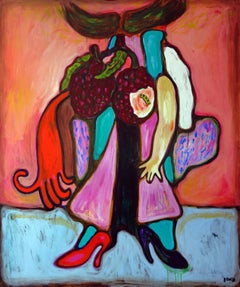 Still Life with red shoes . Portrait Painting Acrylic Hands Orange Blue