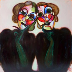 Twins in black . Portrait Painting Acrylic Colors White Red Green Yellow Grey