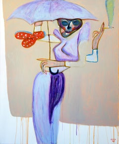 Under my umbrella . Portrait Painting Acrylic Colors Pink Purple Grey