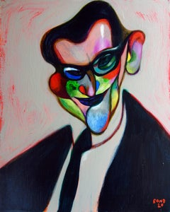Yves Saint Laurent . Painting Portrait YSL Acrylic Couturier Colorful Face Star