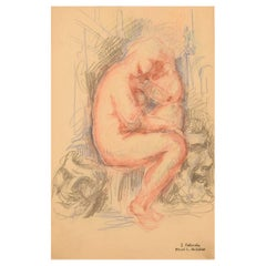 Sergey Fatinsky, Russia, Lithographic Print, Nude Study with Masks
