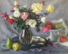 Roses and fruits, oil on canvas post-impressionist style's  still-life