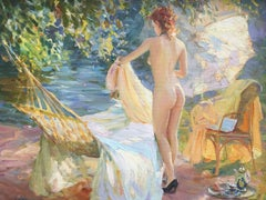 Sunbathing by the river, French impressionist landscape