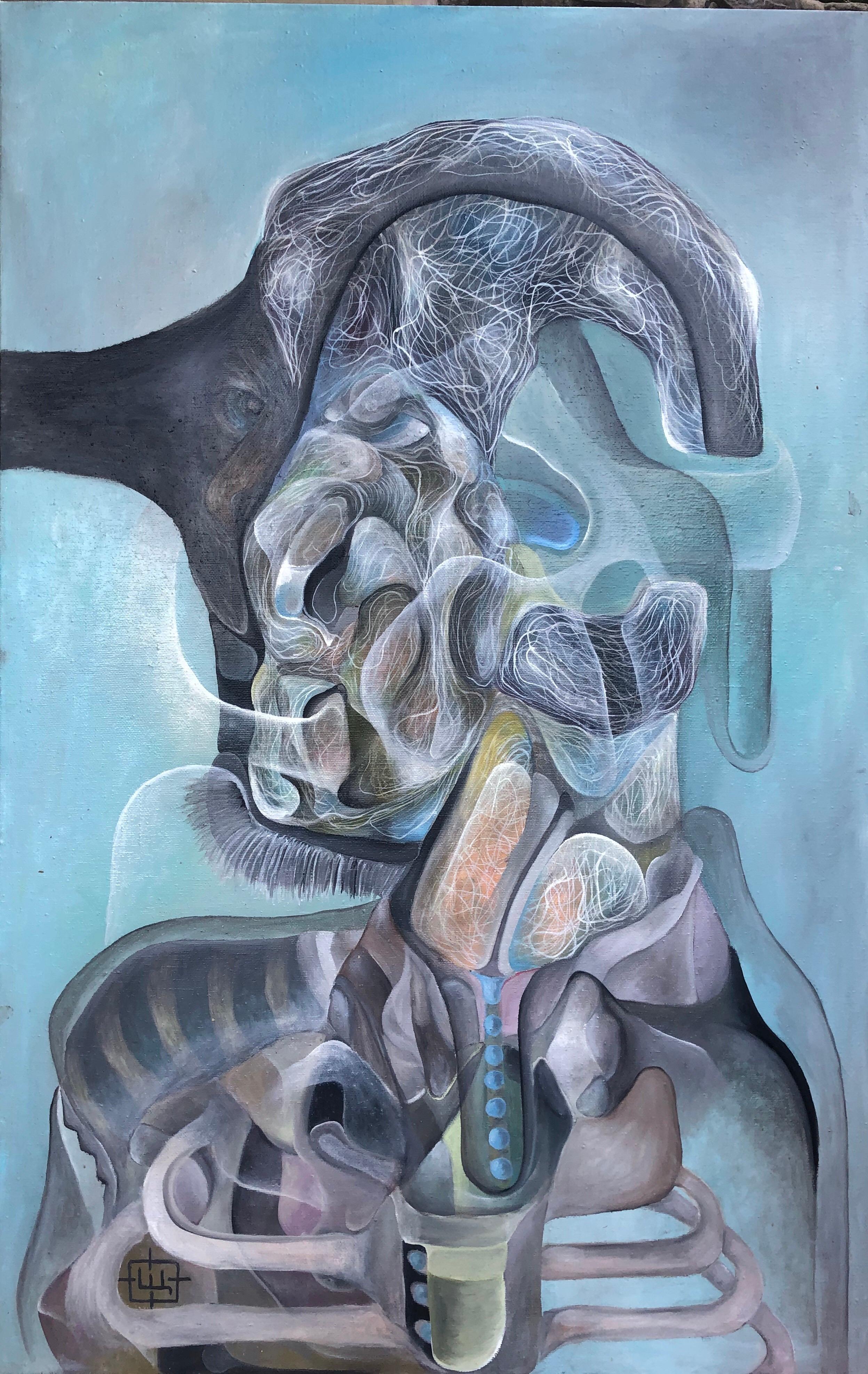 Luminous 415, Contemporary Abstract Oil Portrait Canvas Blue Expressionist Art