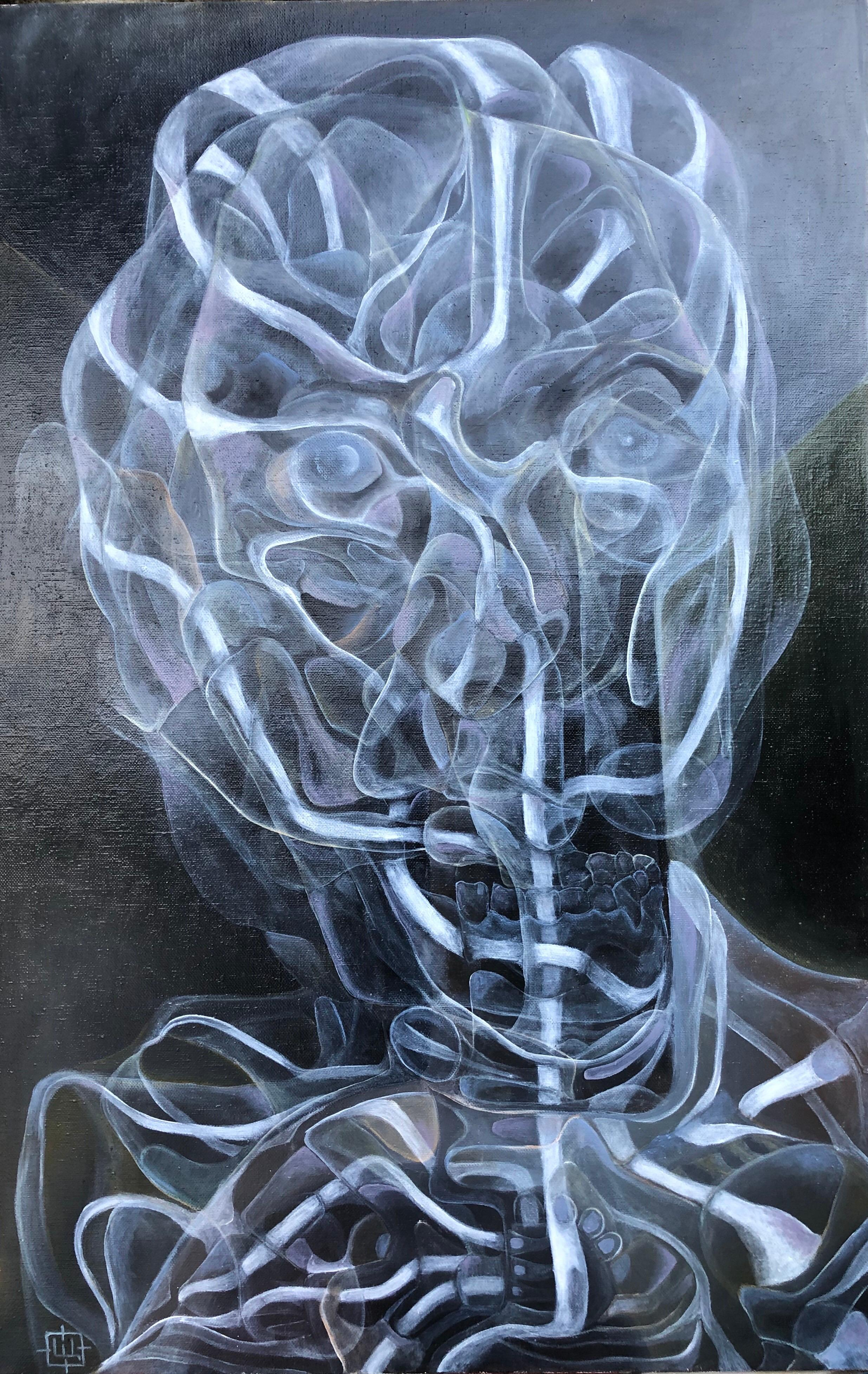 Luminous 426, Contemporary Abstract Oil Portrait Canvas Blue Expressionist Art
