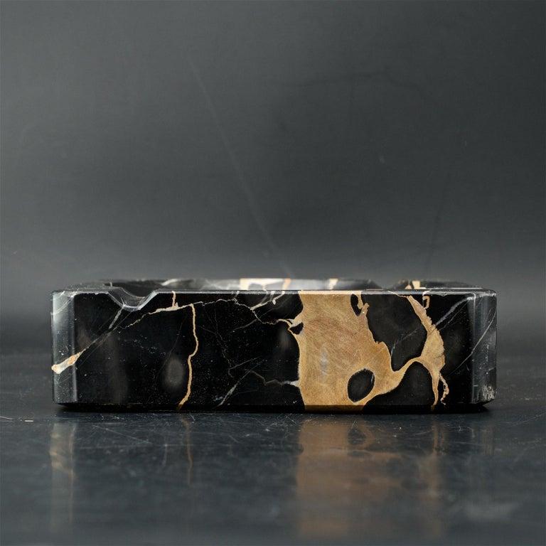 Italian 1950s Palmaria Island Black Gold Marble Cigar Ashtray in style of Sergio Asti  For Sale