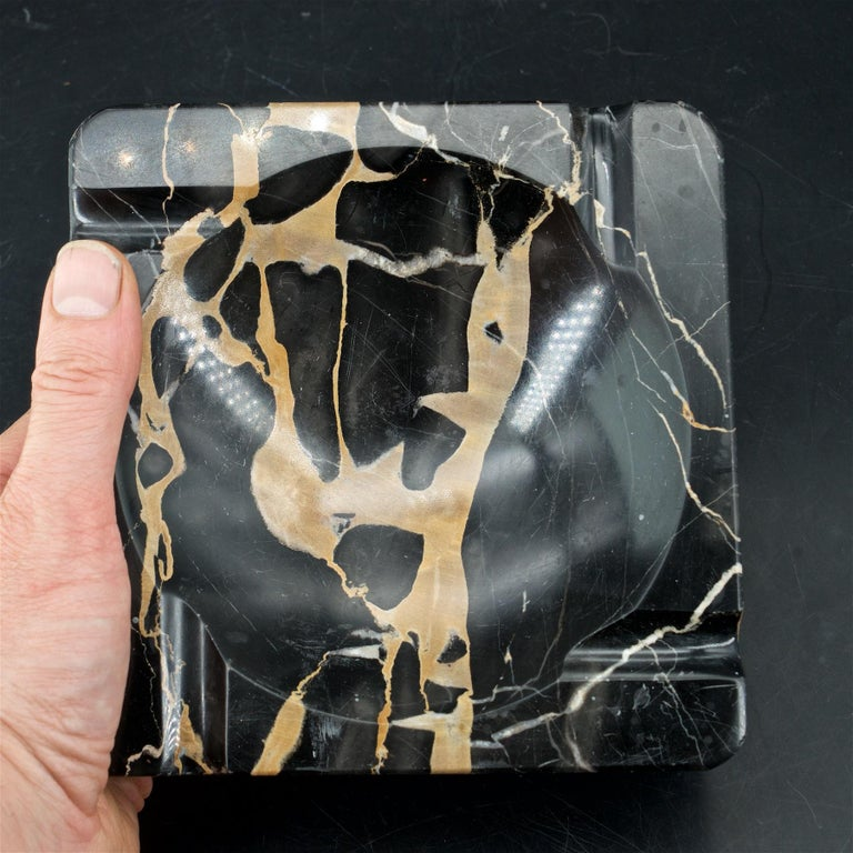 Mid-20th Century 1950s Palmaria Island Black Gold Marble Cigar Ashtray in style of Sergio Asti  For Sale