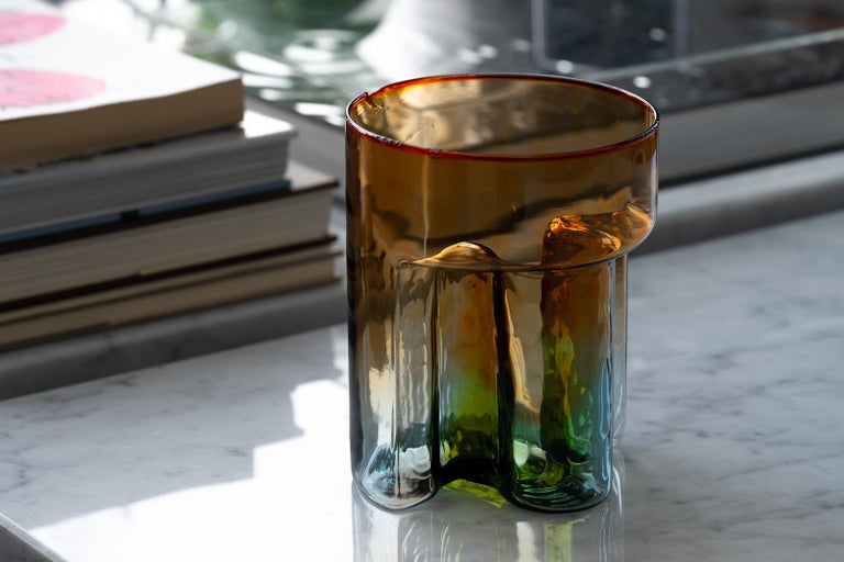 A rare and stunning multicolored carafe designed by Sergio Asti for Murano glassworks VeArt in 1975. The intensely-colored