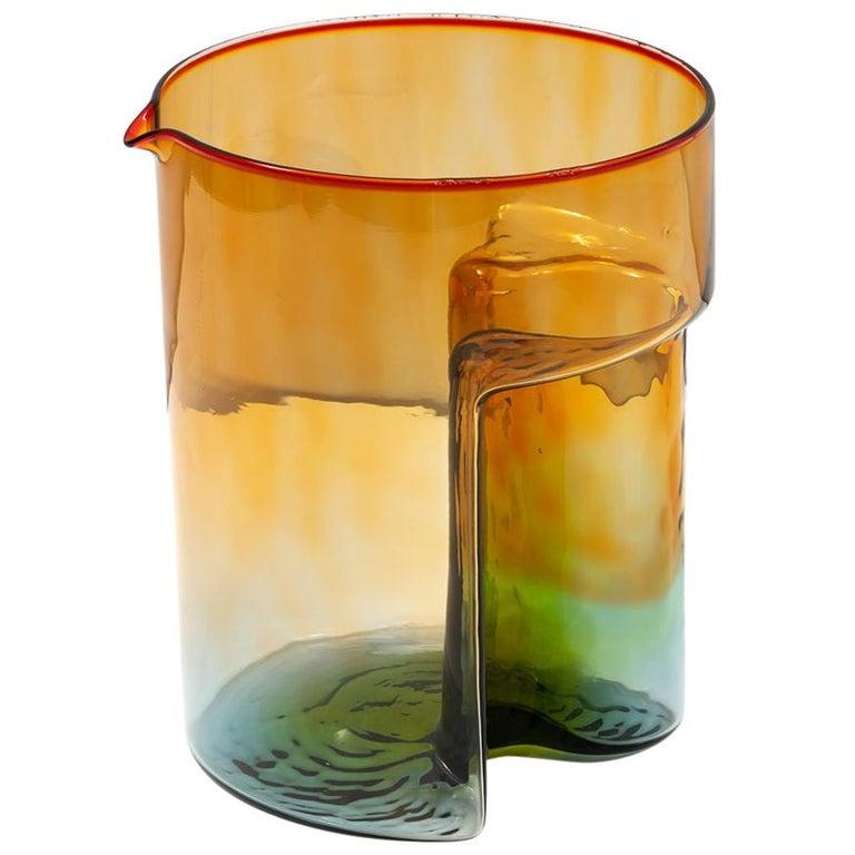 """Sergio Asti Blown Glass """"Break"""" Multicolored Carafe for VeArt, 1975 For Sale"""