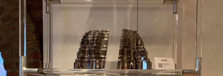 Sergio Asti Collina Vases, Ceramic, Metallic Silver Chrome, Signed For Sale 4