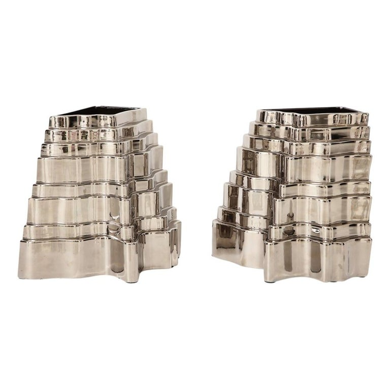 Mid-Century Modern Sergio Asti Collina Vases, Ceramic, Metallic Silver Chrome, Signed For Sale