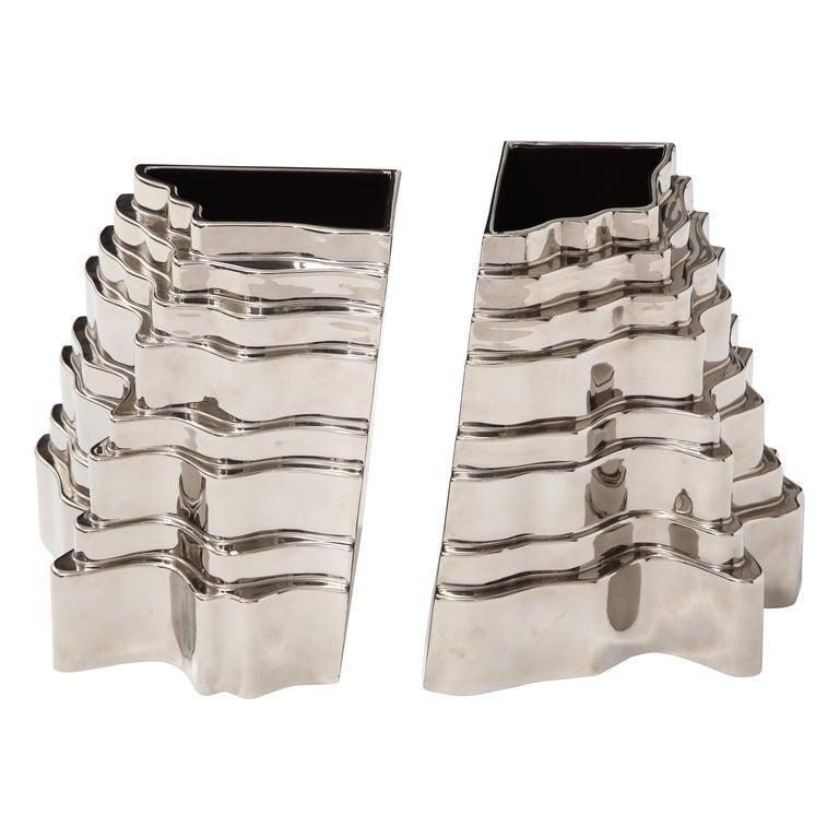 Sergio Asti Collina Vases, Ceramic, Metallic Silver Chrome, Signed For Sale