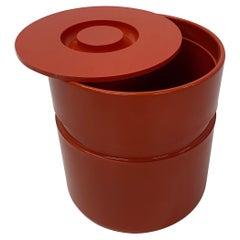 Sergio Asti Designed Red Ice Bucket for Heller, 1970s