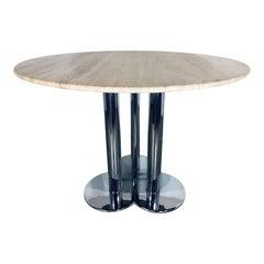 """Sergio Asti for Poltronova """"Trifoglio"""" Travertine Dining Table"""
